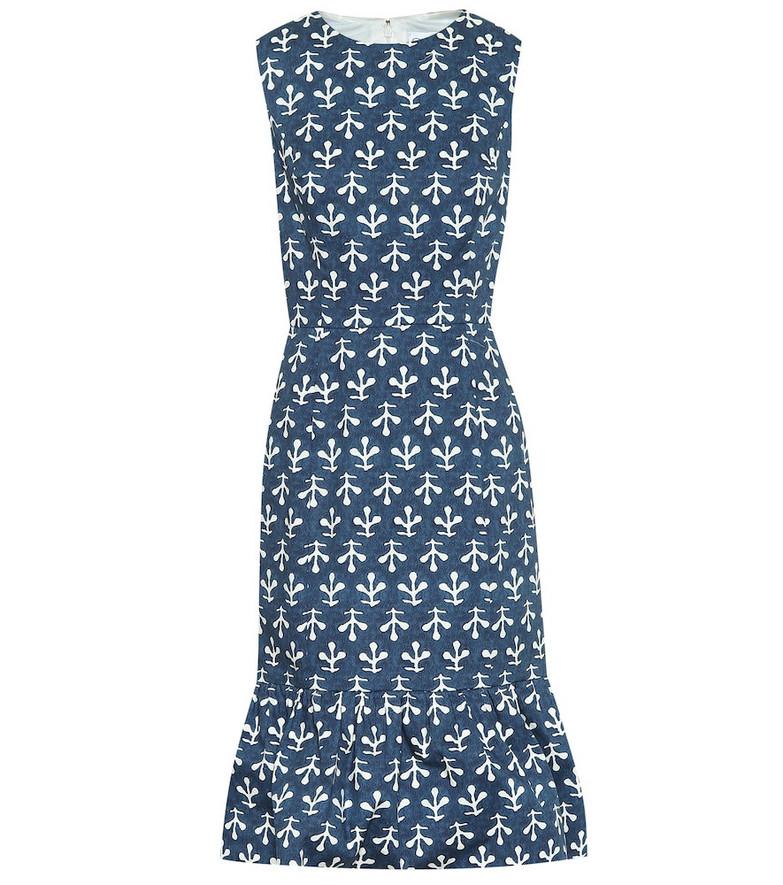 Oscar de la Renta Exclusive to Mytheresa – Printed stretch-cotton poplin dress in blue