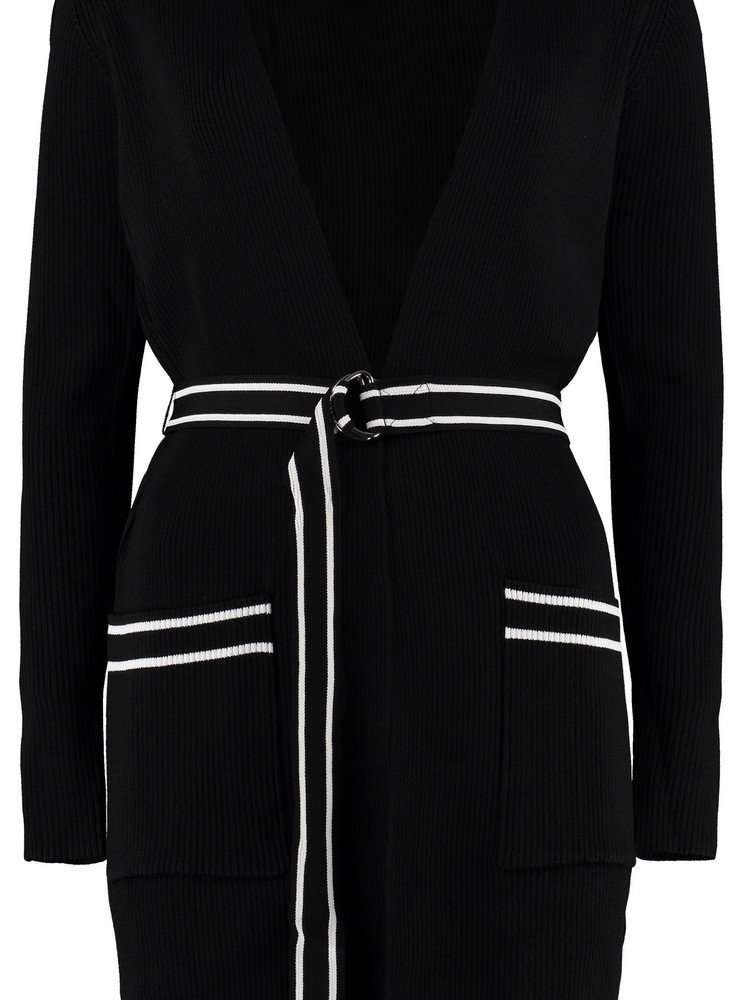 Michael Kors Belted Ribbed Cardigan in black