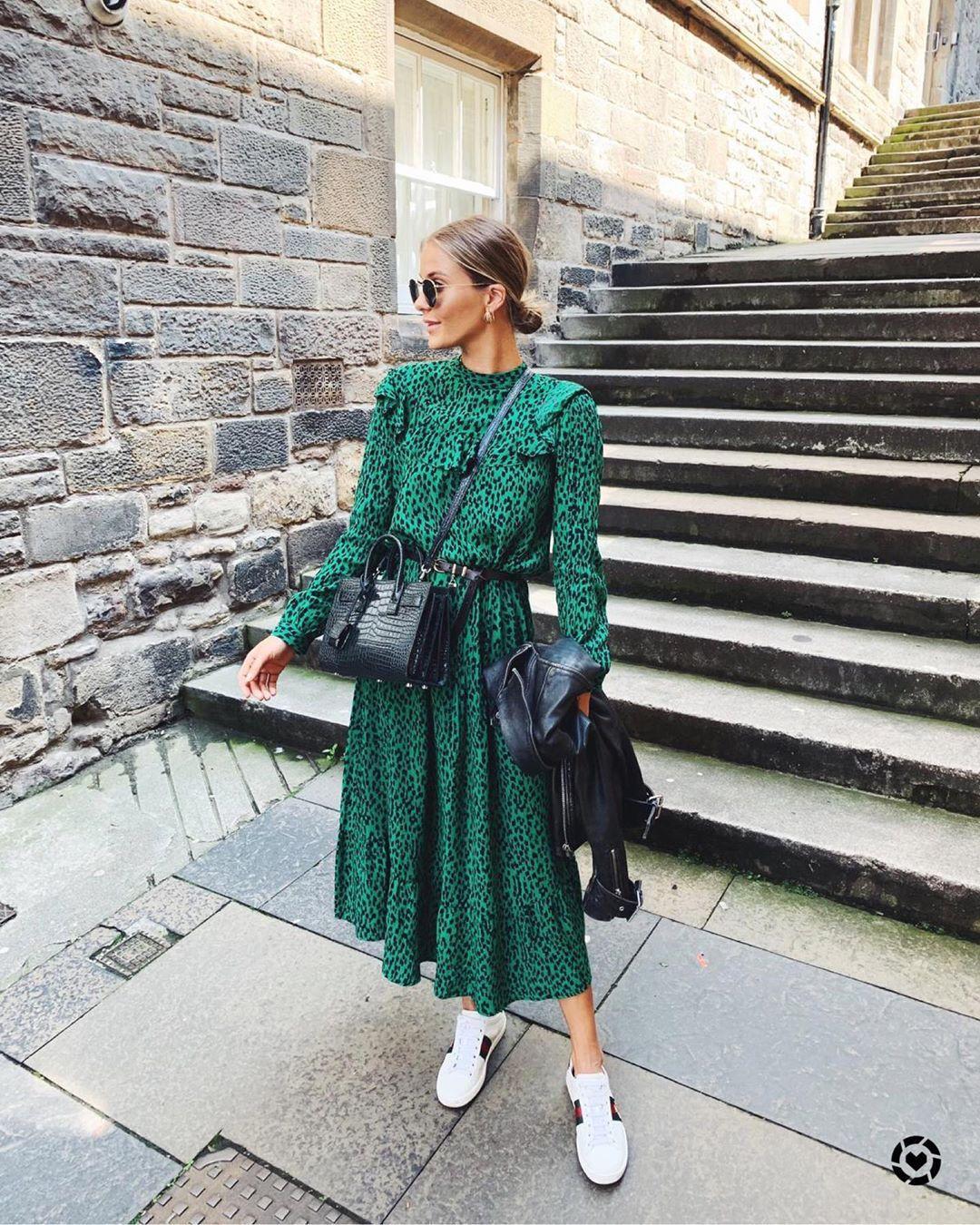 dress midi dress green dress leopard print long sleeve dress white sneakers black bag black leather jacket