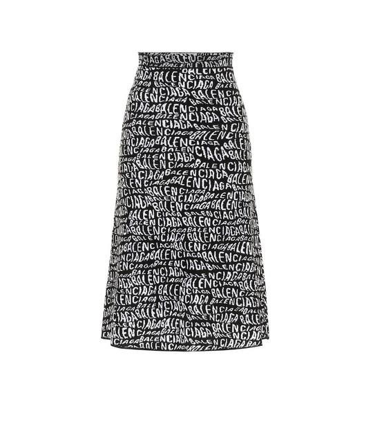 Balenciaga Printed midi skirt in black