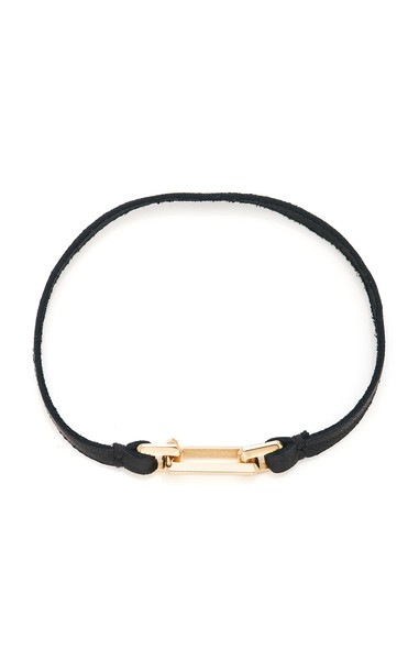 Luis Morais 14K Yellow Gold Small Link Leather Bracelet