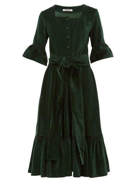 Batsheva - Ruffled Square Neck Cotton Velvet Midi Dress - Womens - Green