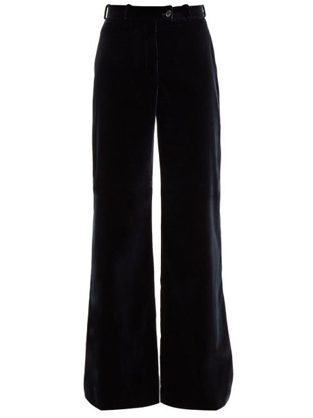 Acne Studios - Wide Leg Velvet Trousers - Womens - Navy