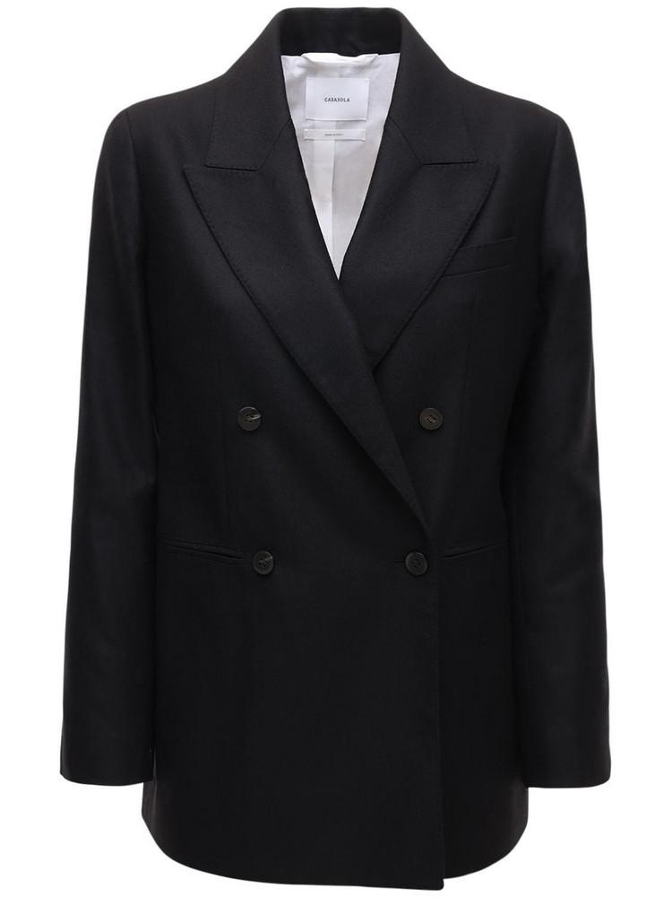 CASASOLA Wool & Silk Double Breast Blazer in black
