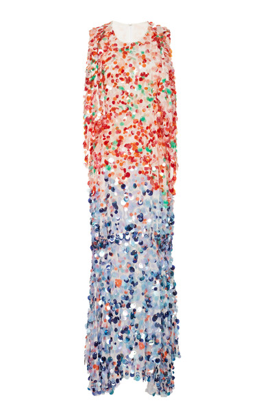 Prabal Gurung Two-Tone Sequined Silk-Georgette Maxi Dress Size: 0 in multi