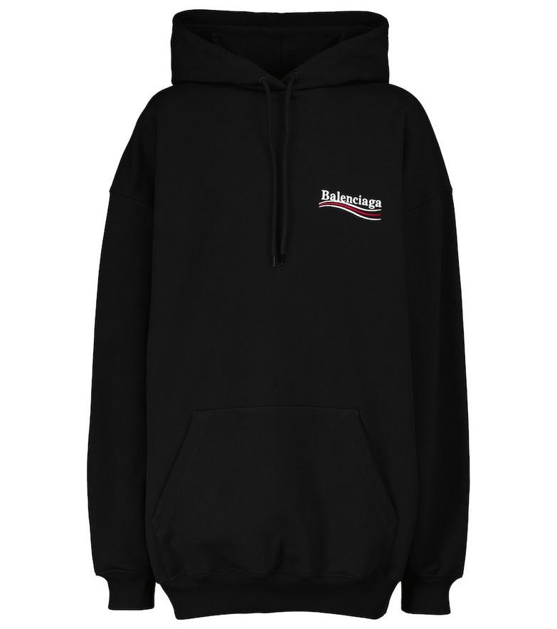 Balenciaga Logo cotton hoodie in black
