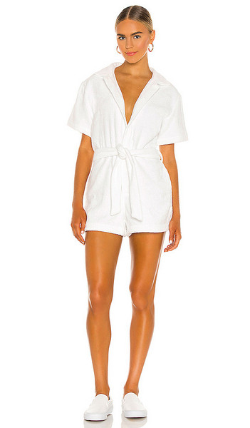 TERRY Belted Romper in White in bianco