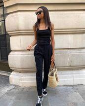 pants,black pants,tank top,black top,sneakers,vans,loewe bag