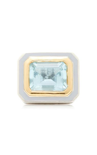 Alice Cicolini 22K Gold, Sterling Silver And Aquamarine Ring Size: 6.