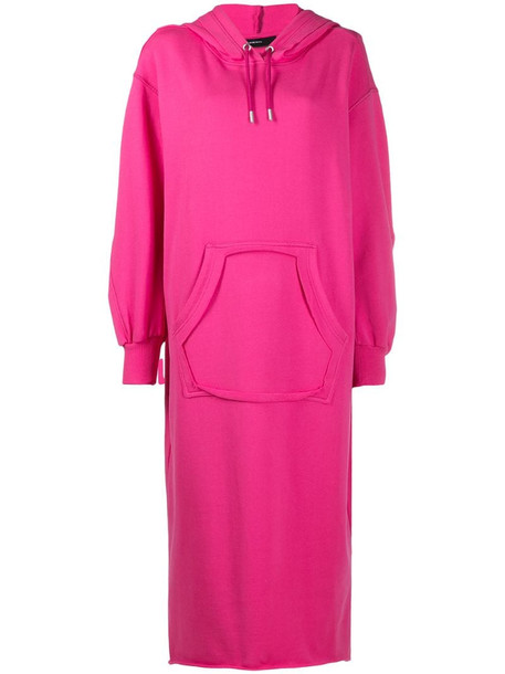 Diesel slogan-print hooded cotton dress in pink