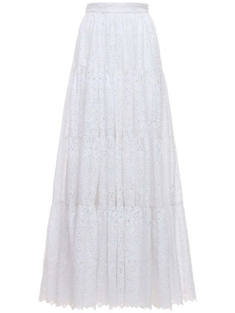 ELIE SAAB Embroidered Cotton Blend Maxi Skirt in white