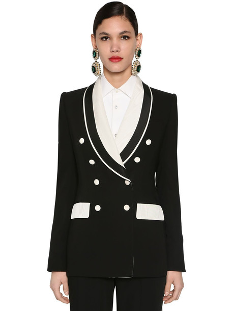 DOLCE & GABBANA Bicolor Tailored Cady Stretch Jacket in black