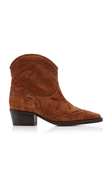 Ganni Suede Ankle Boots in brown