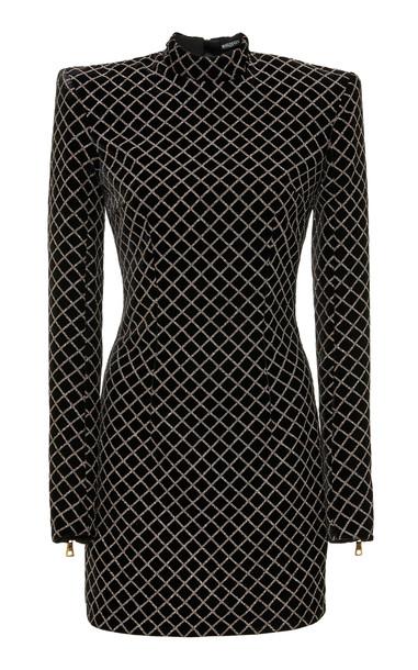 Balmain Glitter Grid Short Velvet Dress in black