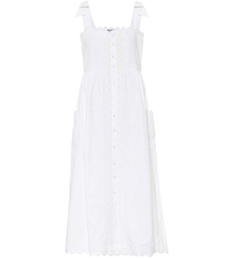 Juliet Dunn Embroidered cotton midi dress in white