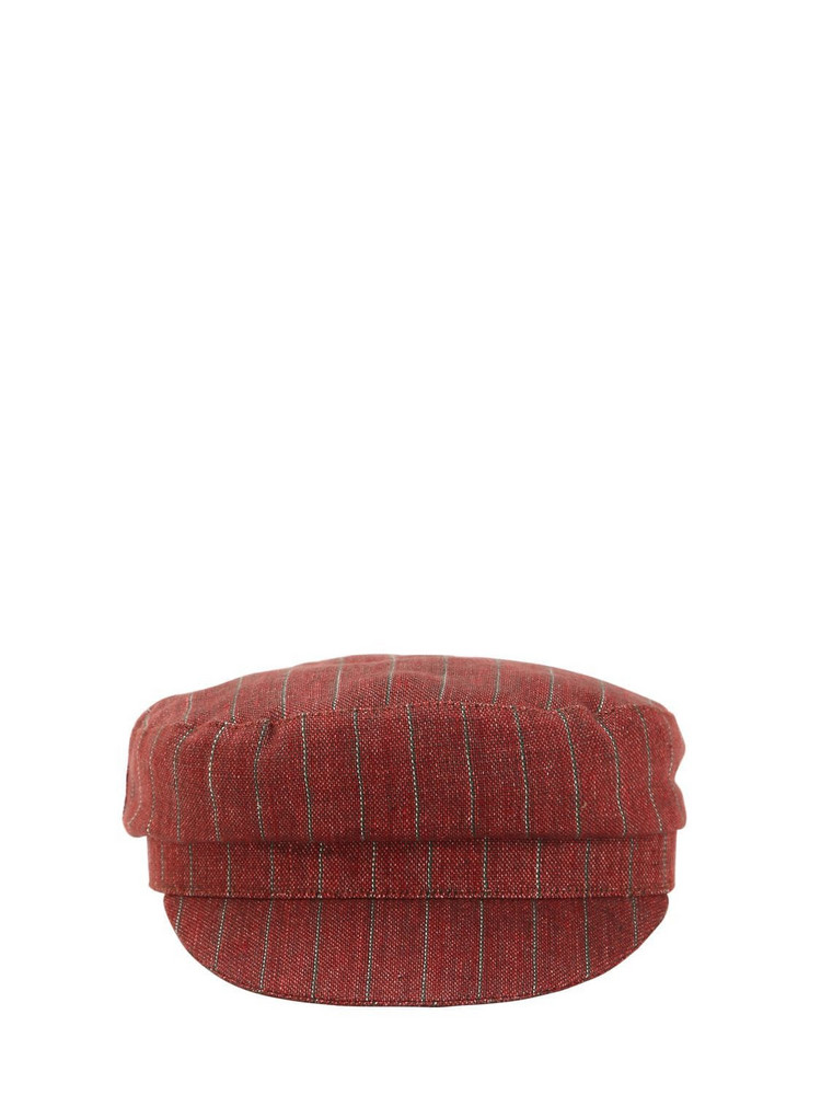 ISABEL MARANT Striped Linen Captain's Hat in red