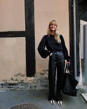 pants,black pants,black leather pants,high waisted pants,ankle boots,black bag,black blouse