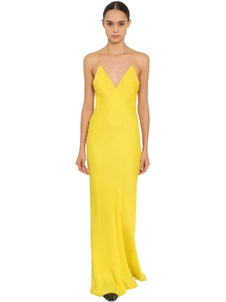 HAIDER ACKERMANN Silk Crepe Slip Dress in yellow