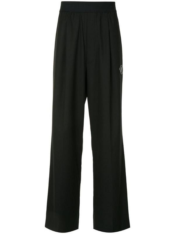 We11done elasticated wide leg trousers in black