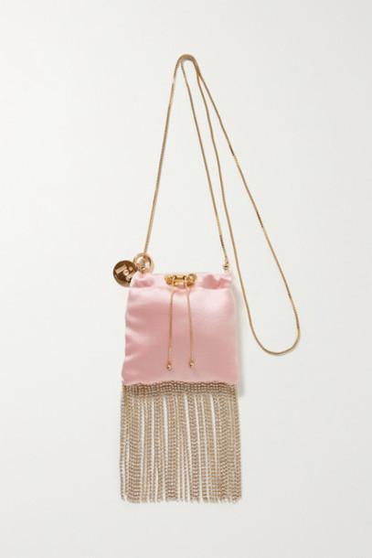 Rosantica - Fatalina Mini Fringed Crystal-embellished Satin Shoulder Bag - Pastel pink