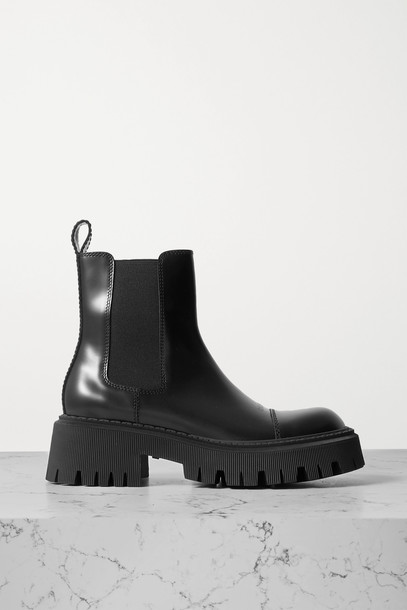 BALENCIAGA - Tractor Leather Ankle Boots - Black