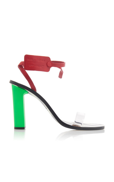Off-White c/o Virgil Abloh Capri Zip Tie-Embellished Leather Sandals S in black