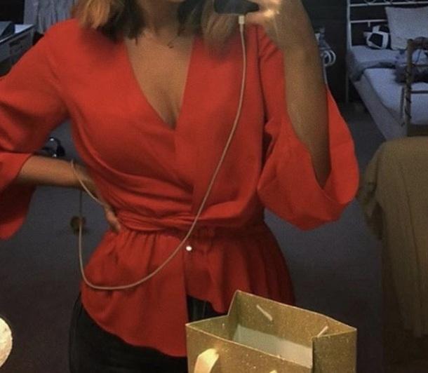 blouse red blazer