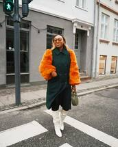 coat,faux fur coat,white boots,knee high boots,heel boots,green bag,handbag,double breasted,tights
