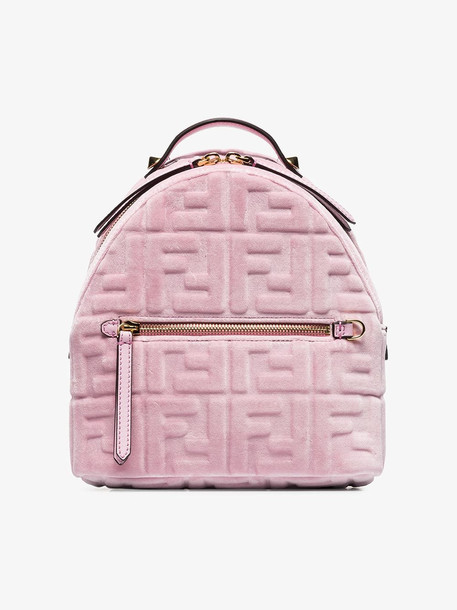 Fendi Pink velvet FF logo backpack