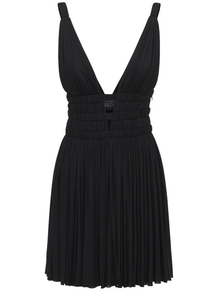 GIOVANNI BEDIN V Neck Viscose Jersey Mini Dress in black