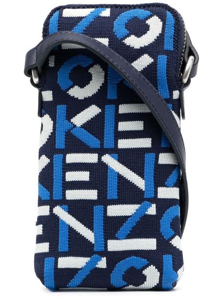 Kenzo monogram-jacquard crossbody phone holder in blue