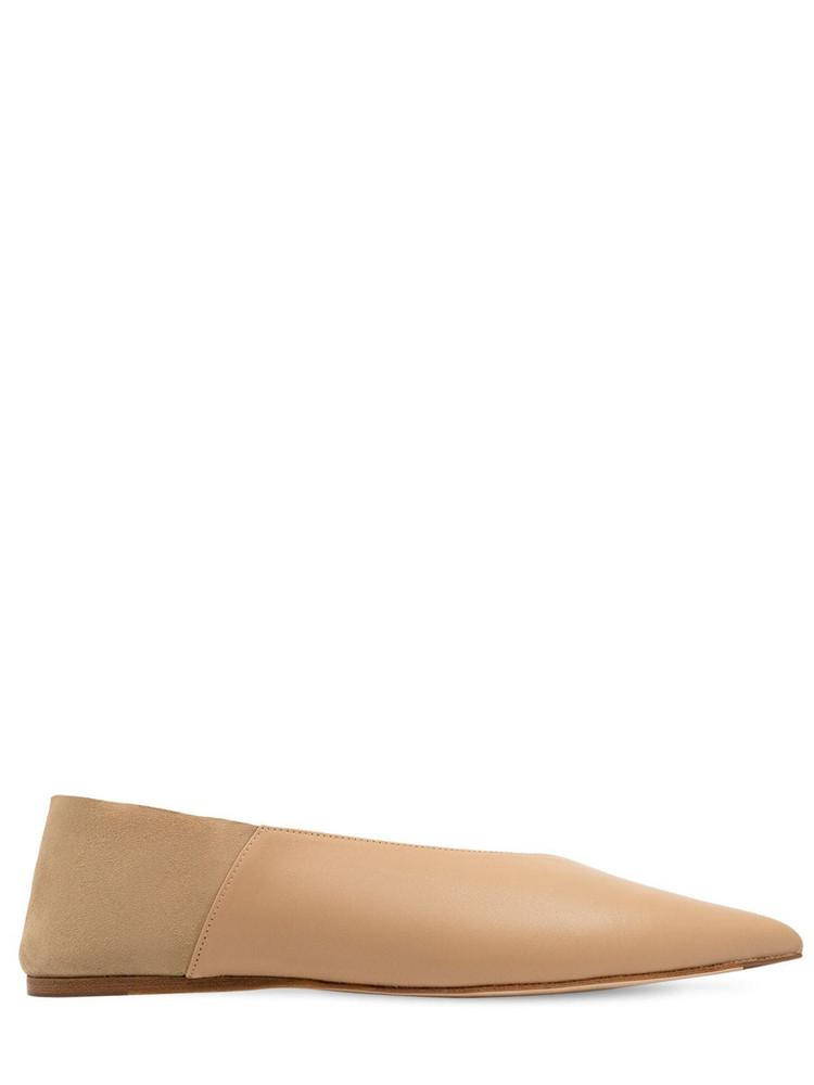 STUDIO AMELIA 10mm Leather Ballerinas in beige