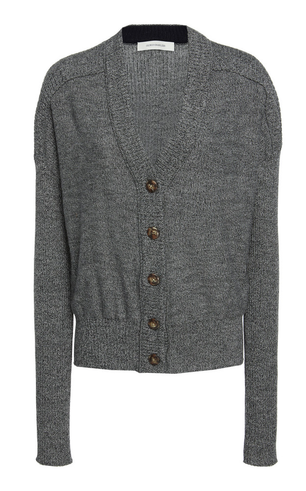 Cédric Charlier Wool Cardigan Sweater in grey