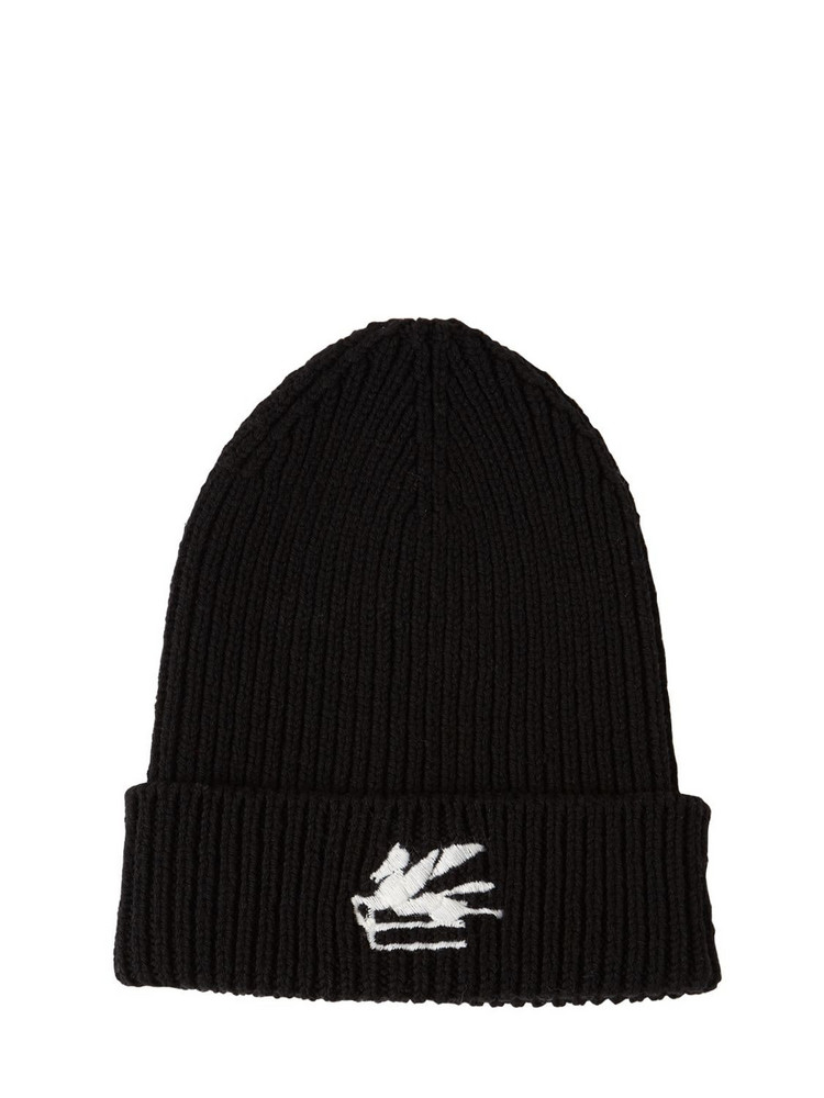 ETRO Wool Knit Beanie W/ Embroidered Logo in black