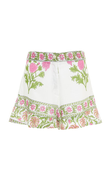Juliet Dunn High-Rise Print Cotton Short in white