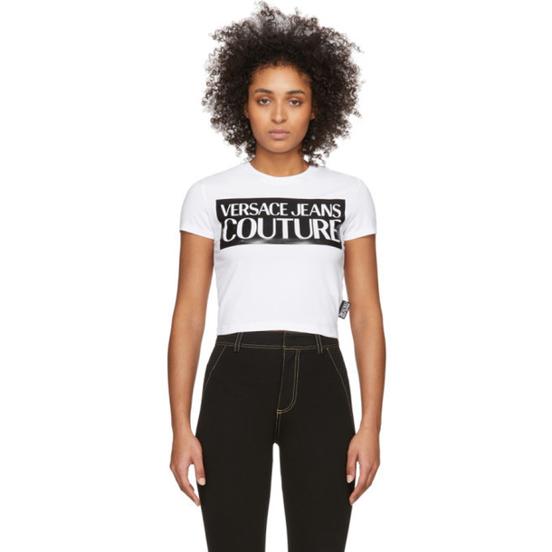 Versace Jeans Couture White Logo Cropped T-Shirt