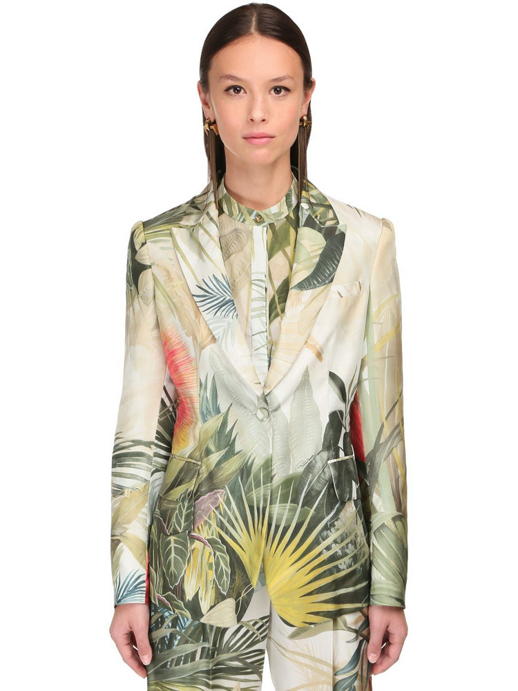 ROBERTO CAVALLI Jungle Print Silk Jacket