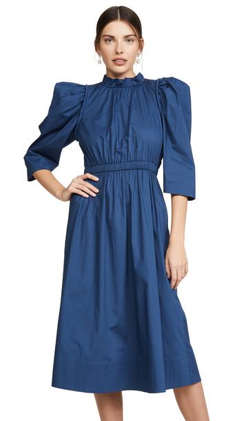 Sea Luna Corded Puff Sleeve Dress in blue