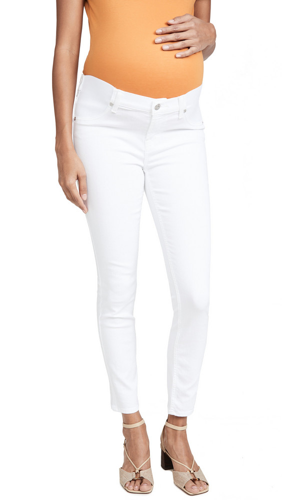 7 For All Mankind The Ankle Skinny Maternity Jeans in white
