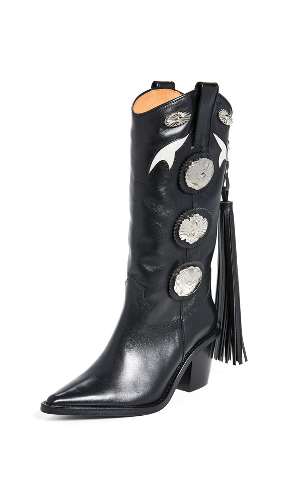 Toga Pulla Tall Fringe Boots in black