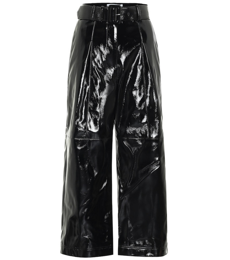 Self-Portrait High-rise faux patent-leather pants in black
