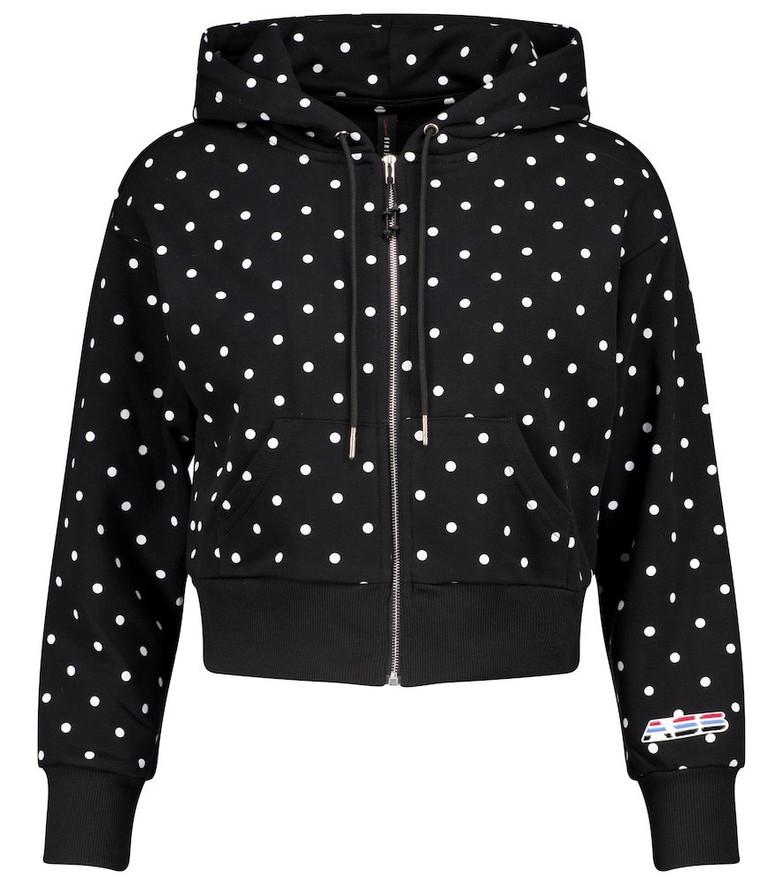 Adam Selman Sport Polka-dot cropped cotton-blend hoodie in black