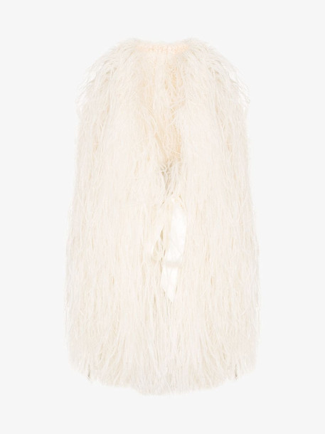 One Vintage feather cropped cape in white