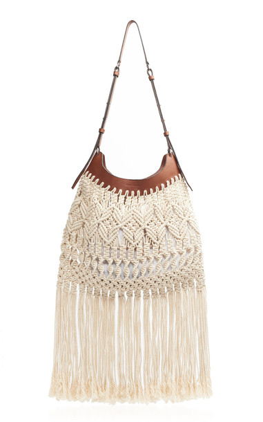 Isabel Marant Teomia Fringed Open Knit and Leather Bag in neutral