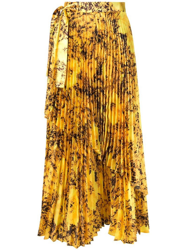 Richard Quinn floral pleated skirt in yellow