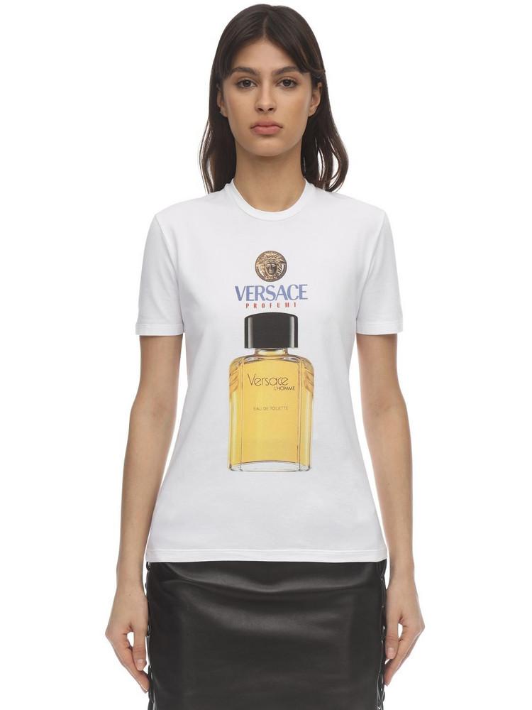 VERSACE Profume Print Cotton Jersey T-shirt in white