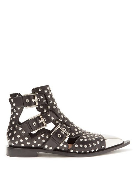 Alexander Mcqueen - Studded Leather Boots - Womens - Black Silver