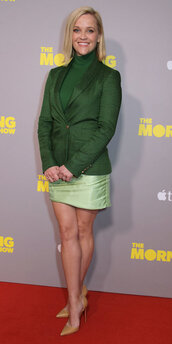 dress,green,green dress,reese witherspoon,celebrity,fall outfits,mini dress