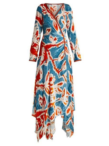 Peter Pilotto - Floral Print Velvet Wrap Dress - Womens - Blue Print