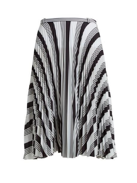 Balenciaga - Striped Pleated Crepe Skirt - Womens - Black White